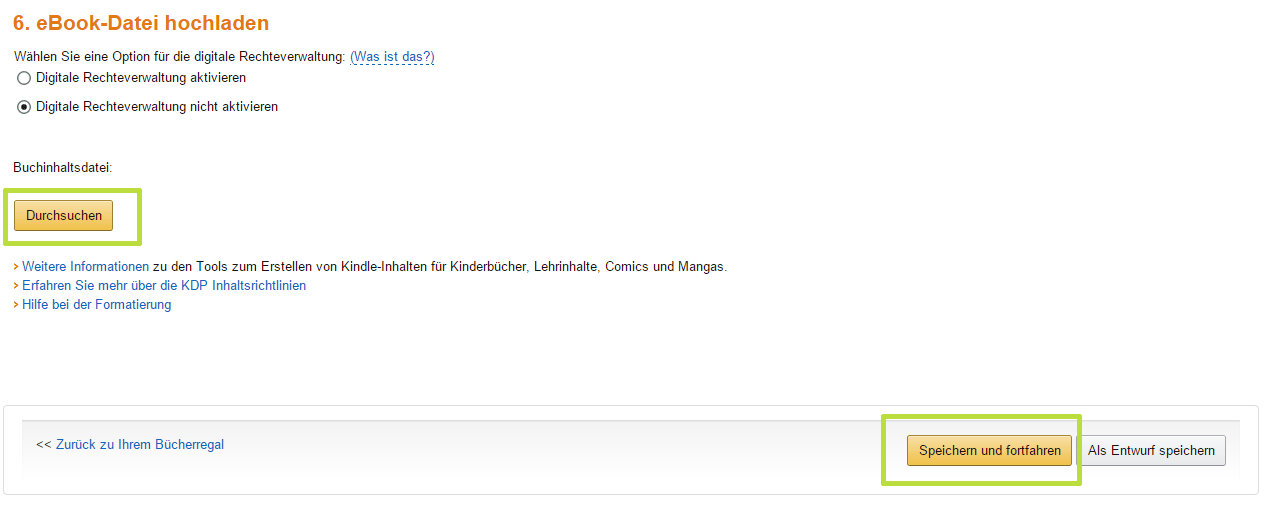 eBook bei Amazon hochladen