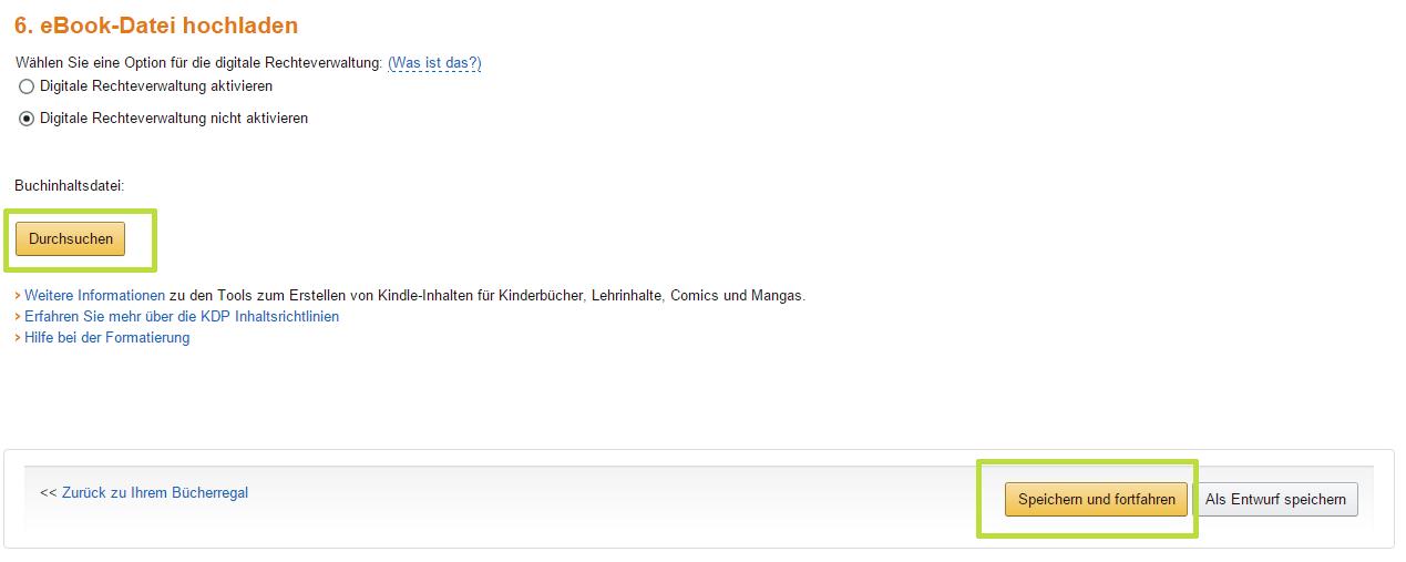 eBook bei Amazon hochladen