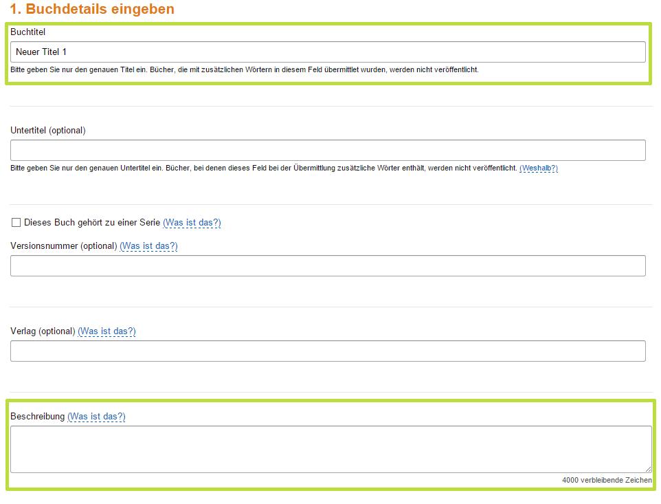 Buchdetails für eBook bei Amazon KDP angeben