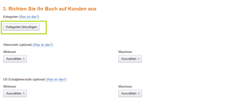 eBook bei Amazon verkaufen: Kategorien auswählen