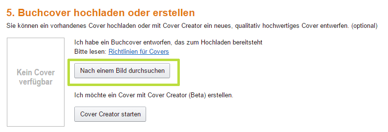 eBook-Cover bei Amazon hochladen