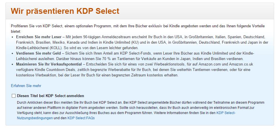 eBook für KDP Select anmelden
