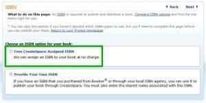 CreateSpace:kostenlose ISBN