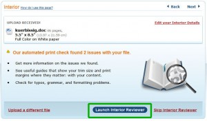 CreateSpace: Buch-Datei überprüfen