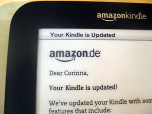 """Your Kindle is Updated!"" Das Kindle Format 8"
