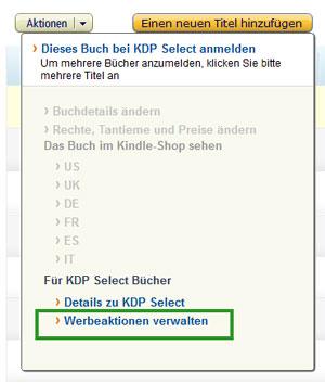 KDP Select Werbeaktion verwalten