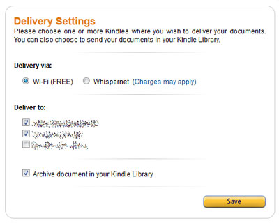 """Send to Kindle"": Geräte auswählen"
