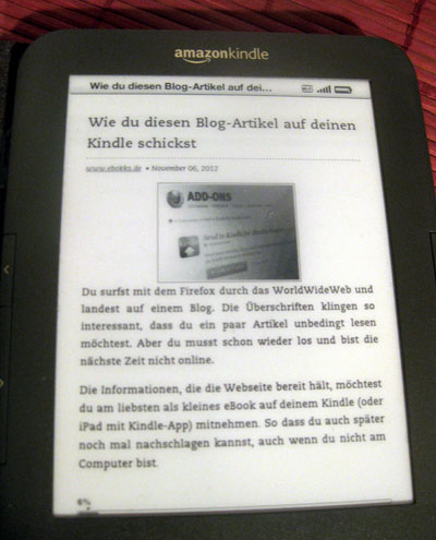 "Blogartikel mit ""Send to Kindle"" auf dem Kindle lesen"