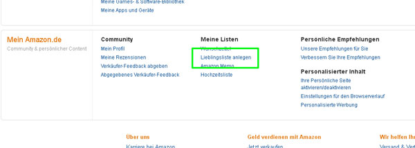 Amazon Lieblingsliste anlegen