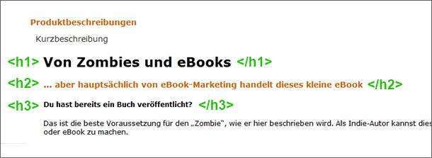 Überschriften in Amazon Produktbeschreibung formatieren