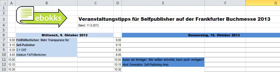 Frankfurter Buchmesse 2013 Veranstaltungstipps für Selfpublisher