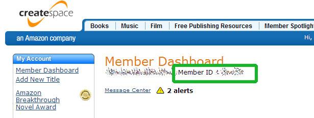 Member ID CreateSpace im Member Dashboard