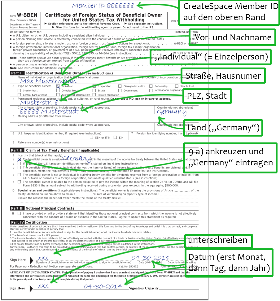 Post von CreateSpace: Tax information