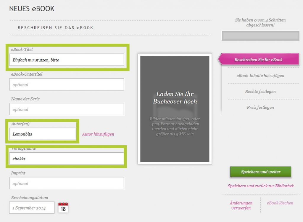 Kobo eBook-Angaben machen