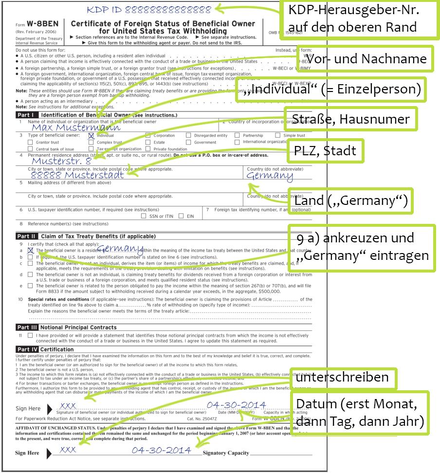 W-8BEN-Formular für Amazon KDP ausfüllen