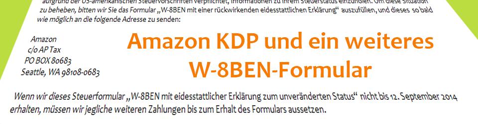 Amazon KDP W-8BEN Formular ausfüllen