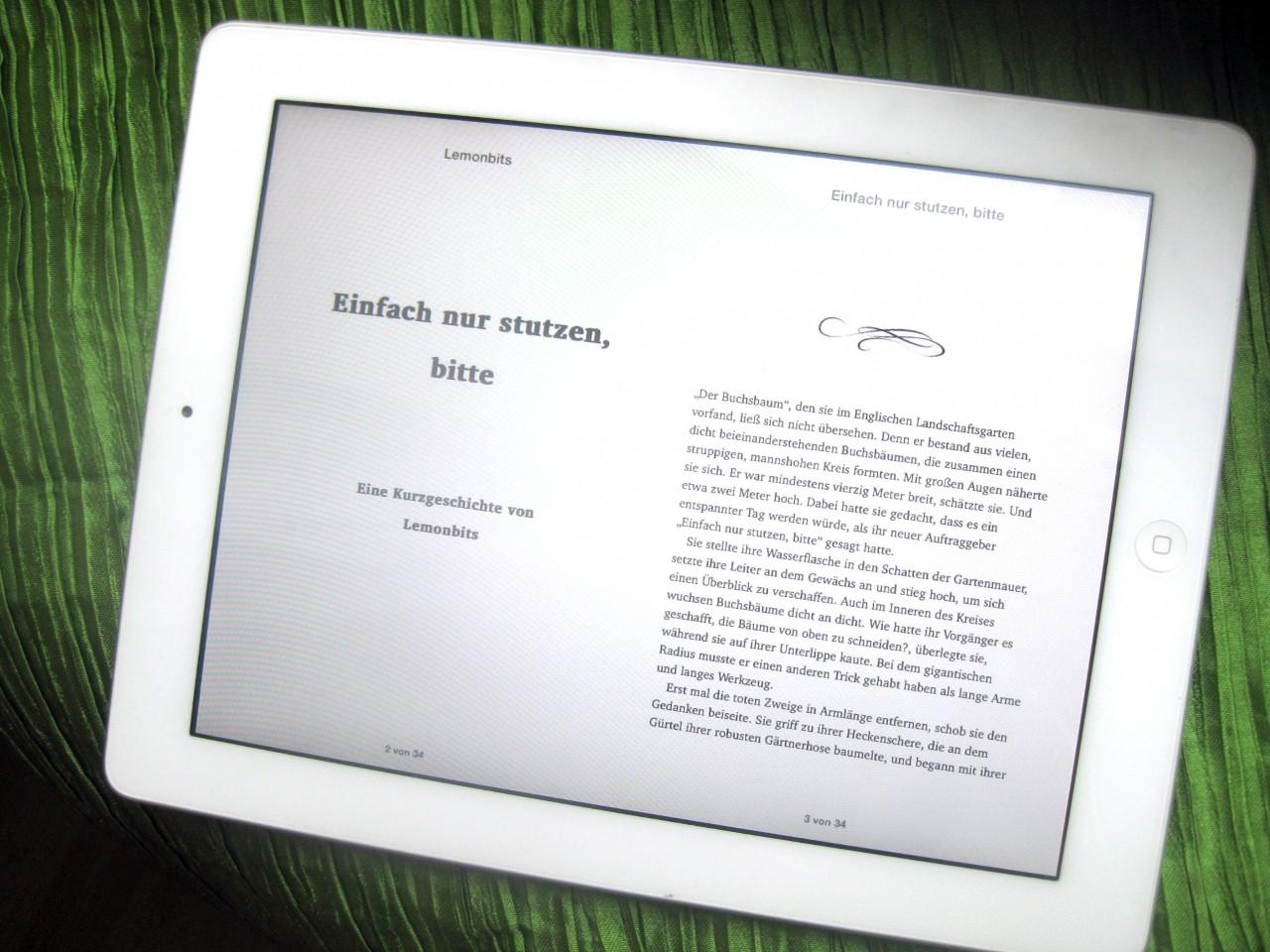 """eBook-Layout """"Einfach nur stutzen, bitte"""""""