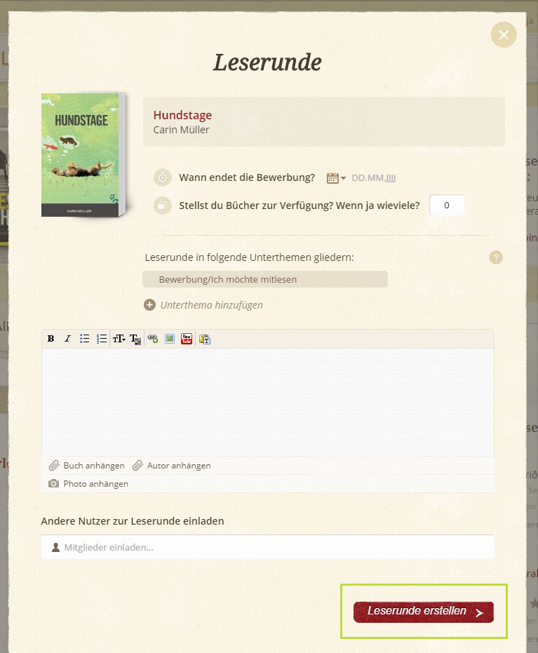 lovelybooks_leserunde_erstellen