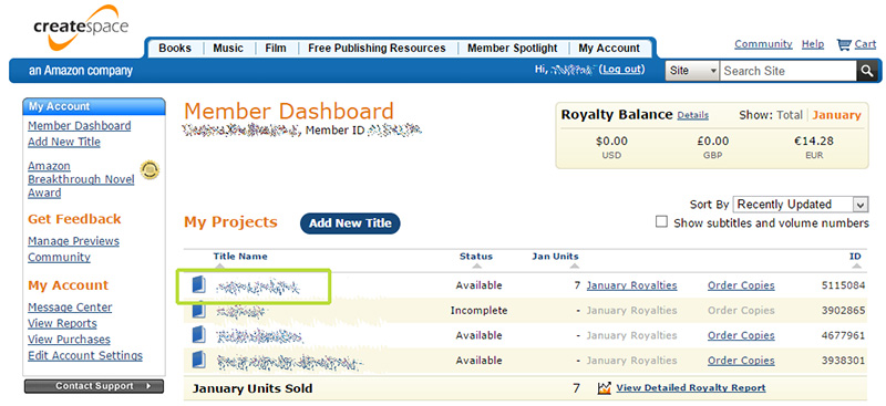 Das Menber Dashboard bei CreateSpace