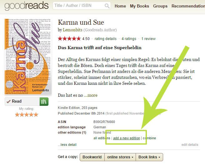 Goodreads deutsch: Taschenbuch hinzufügen