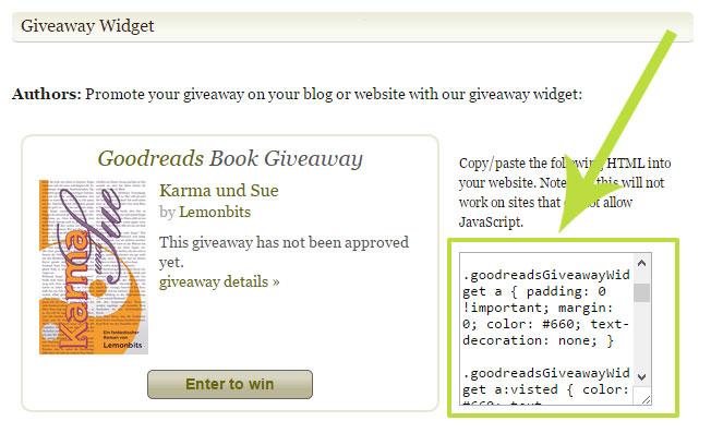 Goodreads Giveaway Widget