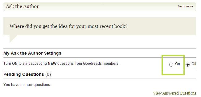 Goodreads deutsch: Fragen an Autoren anschalten