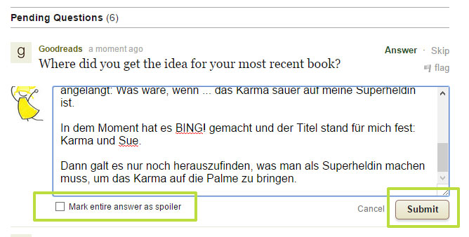 Goodreads deutsch: Spoiler