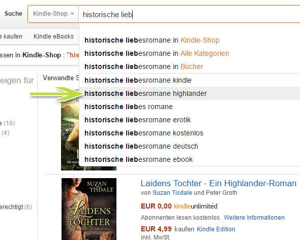 Amazon optimale  Keywords suchen