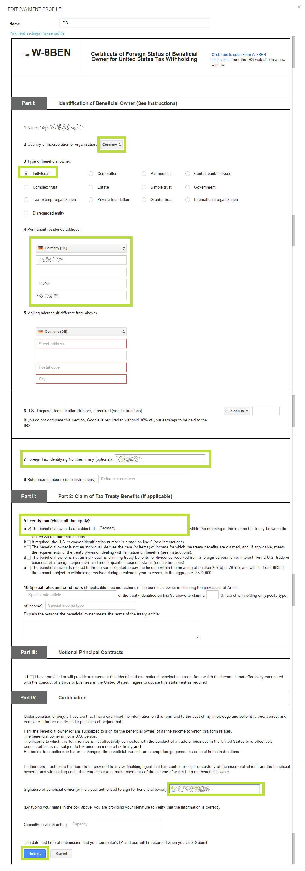 Steuerformular W-8BEN bei Google Play