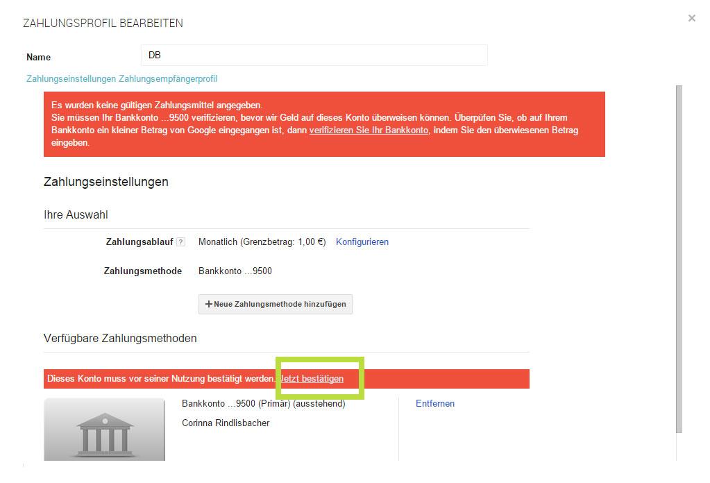 Google Play: Konto bestätigen