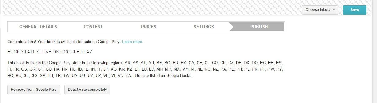 eBook bei Google Play hochgeladen