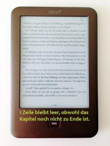 Eine leere Zeile im eBook dank Absatzkontrolle