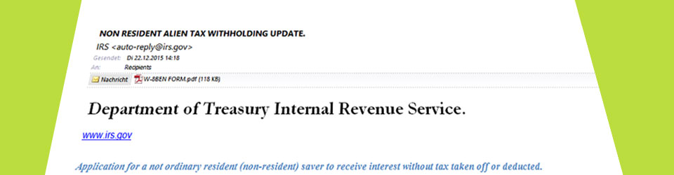 Phishing-Mail vom irs.gov - Betrugsversuch
