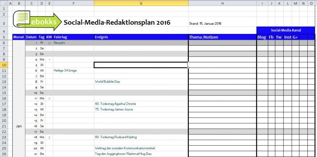 Vorschau des Redaktionsplans 2016