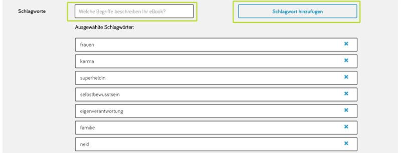 Suchschlagwörter bei Tolino auswählen