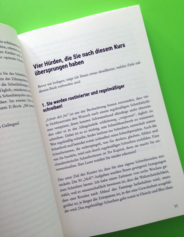 """Buchsatz """"Schreib täglich!"""" von Denise Fritsch"""